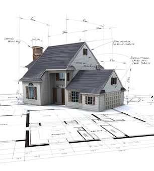 House mock-up on top of blueprints with pen notes and corrections