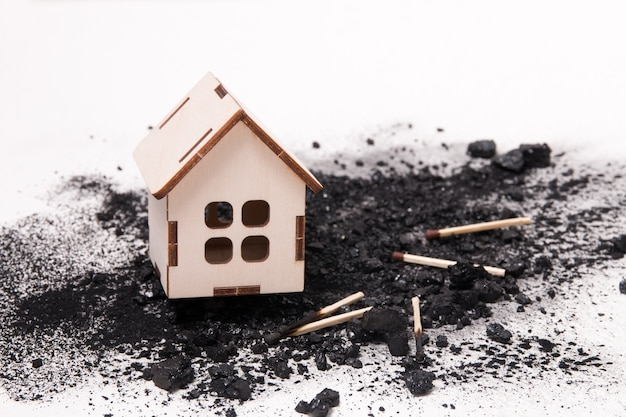 House model on coal and matches