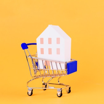 Модель дома внутри корзины на желтом фоне