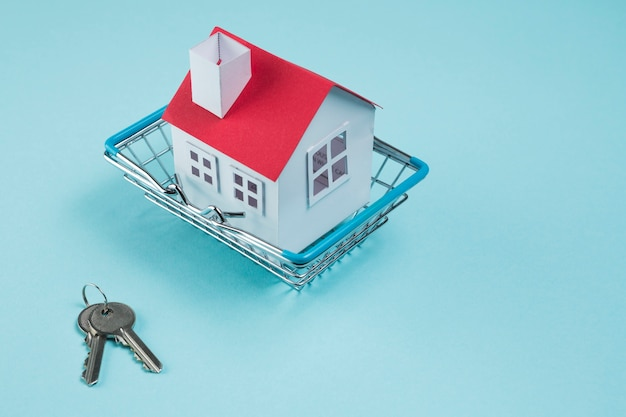 House model in metallic basket and keys on blue background