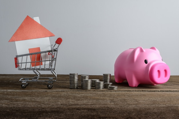 House model in shopping cart and row of coin money and piggy bank