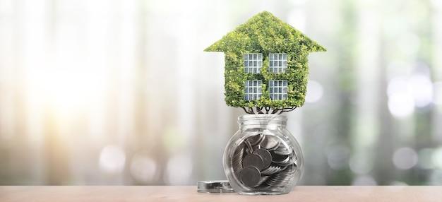Модель дома есть пространство. концепция дома и недвижимости. бизнес-идея