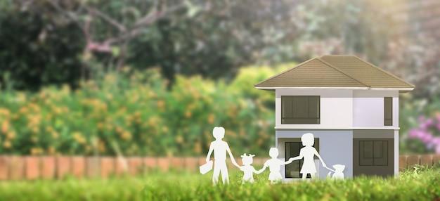 ハウスモデルありスペース。住宅、住宅、不動産のコンセプト