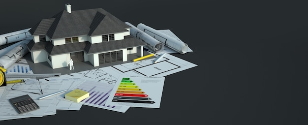 A house model with a family on top of blueprints, energy efficiency charts and other documents