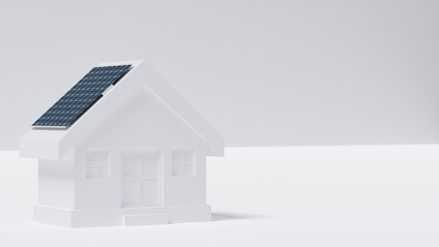 House model with solar panel on roof.