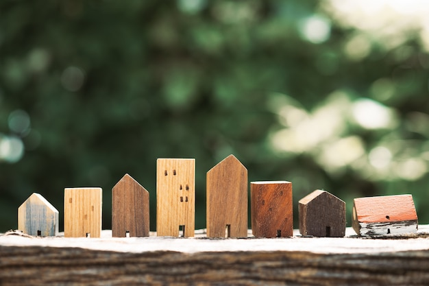House model on wood table