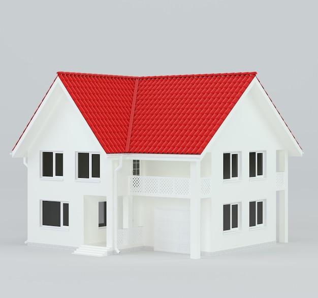 Дом в современном стиле с красной крышей. 3d-рендеринг.