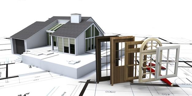 창문과 문을 선택할 수있는 청사진 위의 집