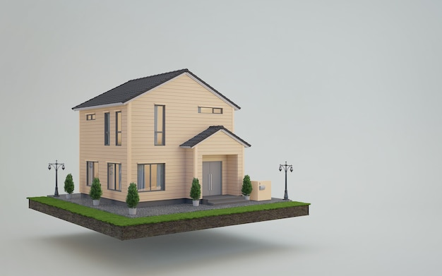 Дом на земле и газон в концепции продажи недвижимости или инвестиций в недвижимость