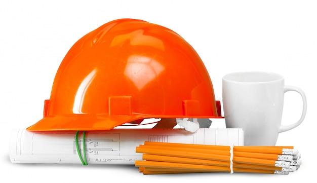 House plan and helmet Premium Photo