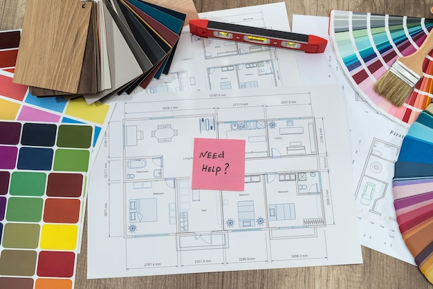 House plan with colour swatches and 'need help' text