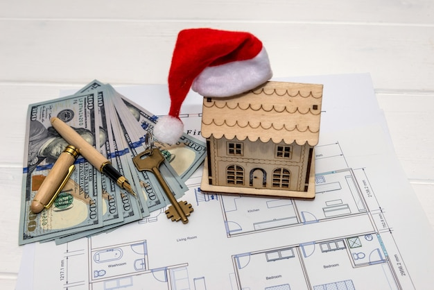 집 모델, 달러 및 키가있는 집 계획