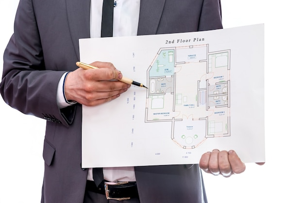 白で隔離の男性の手と家の計画