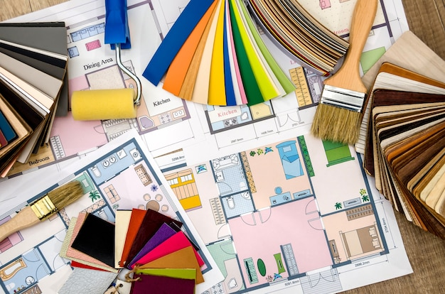 House plan with tools and color samples