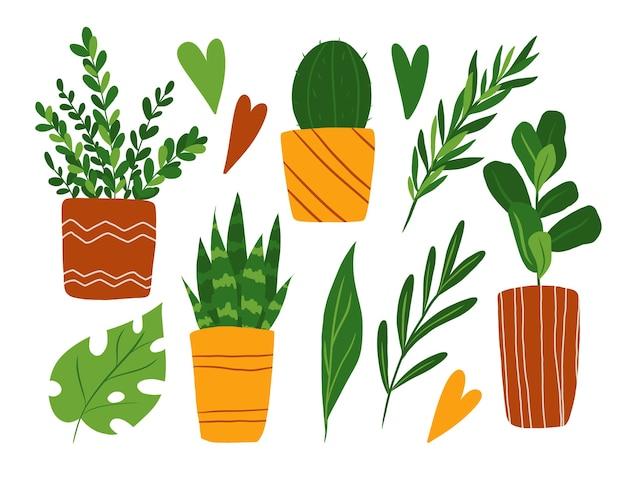 観葉植物クリップアートセット白で隔離フラットスタイルの鉢植えの花コレクションで描かれた手
