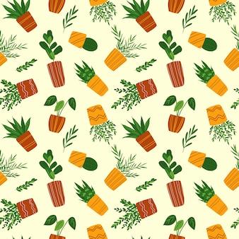 クリーム色の背景に観葉植物のシームレスなパターン鉢植えの花の繰り返し印刷