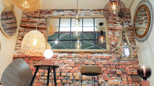 House shop brick red wall retro mirror with different modern chandeliers metal shade pendant decoration