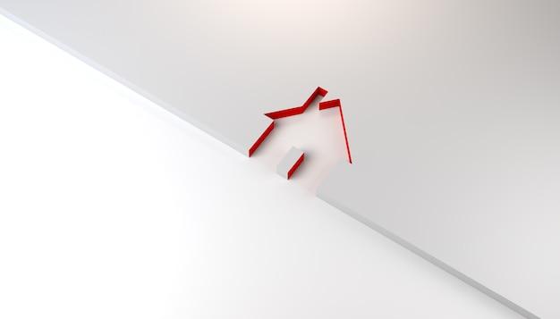 赤い境界線のある家のシルエット不動産バナー背景3dイラスト