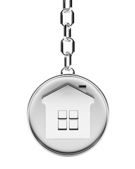 House on silver round key chain
