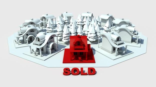 흰색 부동산 개념 3d 이미지에서 나머지와 차별화 된 빨간색으로 판매 된 집