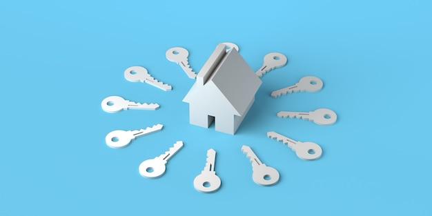 パステルブルーの背景に鍵に囲まれた家不動産市場3dイラストバナー
