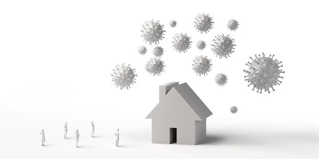 Дом, окруженный вирусом, с людьми, наблюдающими за недвижимостью, находящейся под угрозой вирусов, 3d иллюстрация