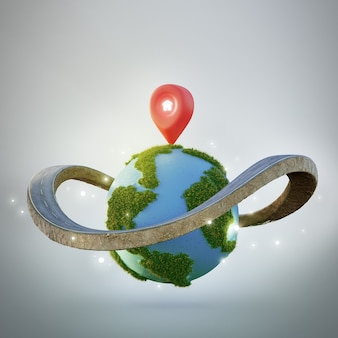 House symbol with location pin icon on earth and road ring in property investment concept