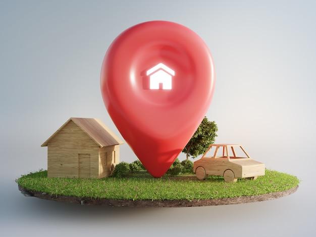地球と緑の草の上の場所のピンアイコンと家のシンボル