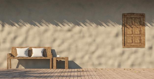 3d-рендеринг террасы дома: глиняная стена с деревянным полом и старая деревянная мебель
