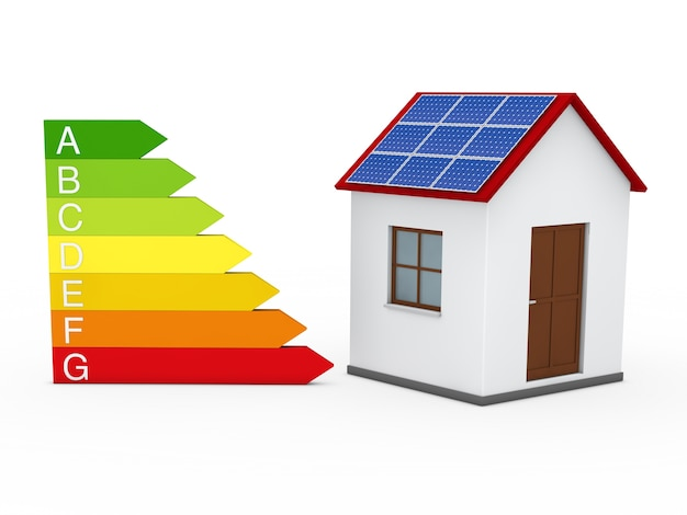 Дом с панелью и энергетической диаграммы солнечной