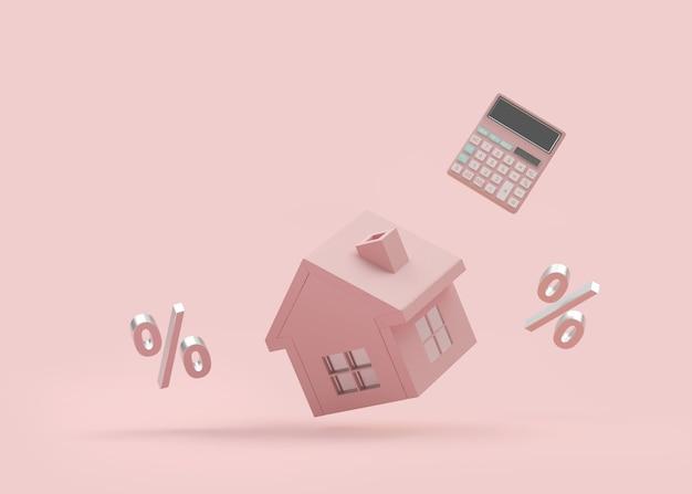 電卓とパーセント記号のある家