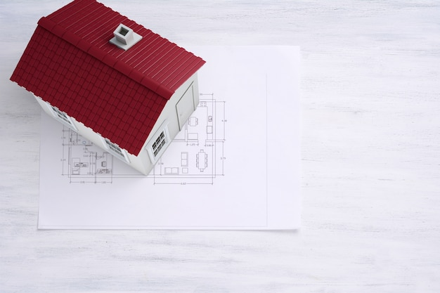 House with house plan and tools. architecture concept.