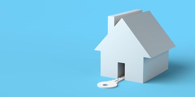 ドアから入る鍵のある家不動産市場オープンハウス3dイラストバナー