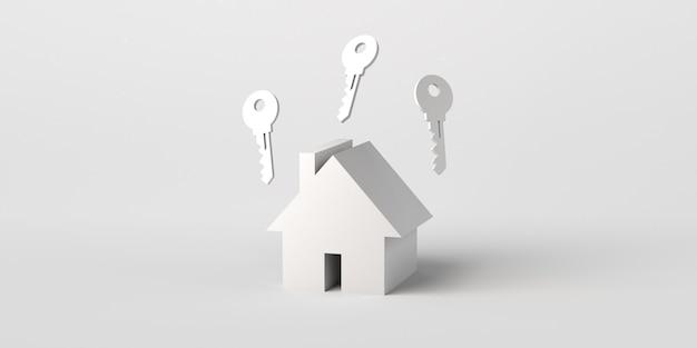 上部に鍵のある家不動産市場3dイラスト白い背景で隔離バナー