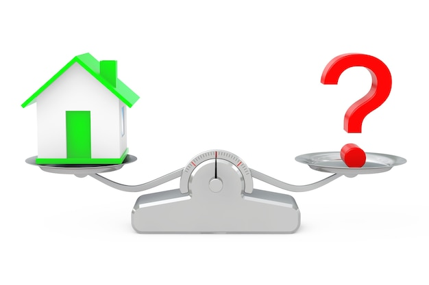 House with question mark balancing on a simple weighting scale on a white background. 3d rendering