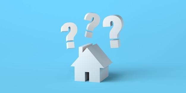 不動産市場の3dイラスト背景バナーに疑問符のある家