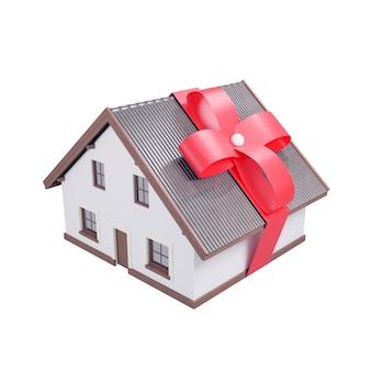 Дом с красным бантом на нем, 3d визуализация