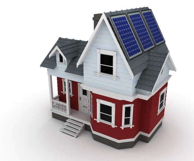 태양 판이있는 집