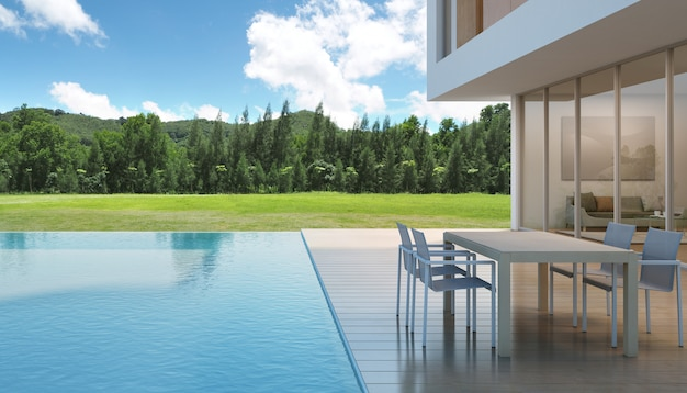 House with swimming pool in modern design.