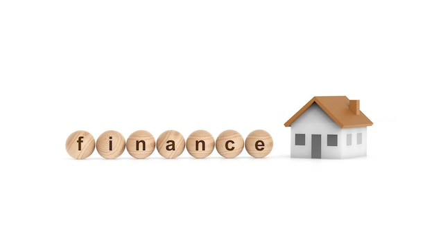 The house and wooden ball with wording finance. financial real estate concept. 3d render.