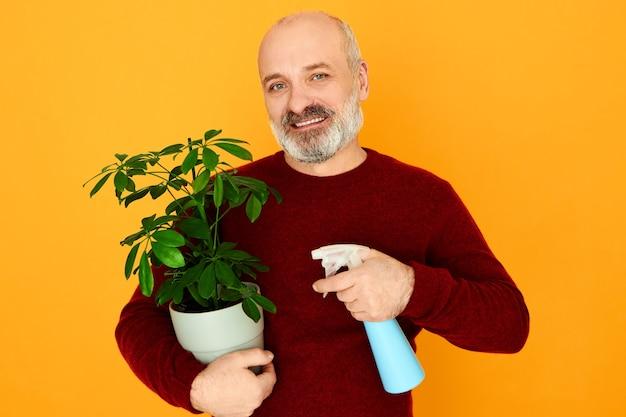 世帯、成熟した人々、年齢および退職。ハンサムな感情的なひげを生やした引退した男性のセーターで、妻がスプレーボトルを使用して緑の植物に水をまき散らして家事をするのを手伝って、楽しい表情をしています