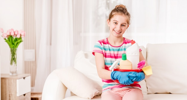 Housekeeper with kit for cleaning