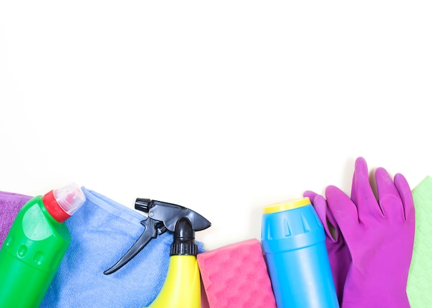 Housekeeping concept with cleaning products