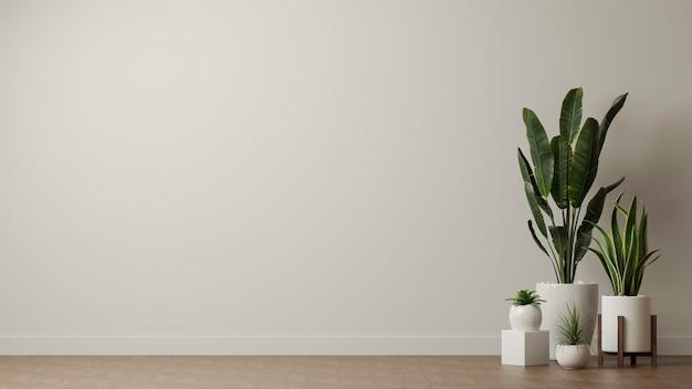 흰 벽 배경 복사 공간이있는 거실에 장식 된 실내 화분 용 화초
