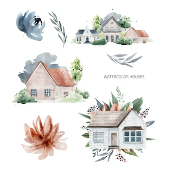 家と花の水彩画