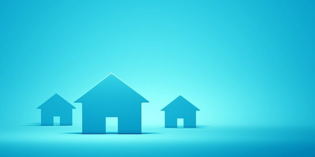 Houses on the blue wall. 3d illustration