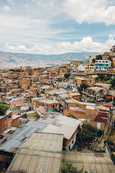 Houses on the hills of comuna in medellin, columbia