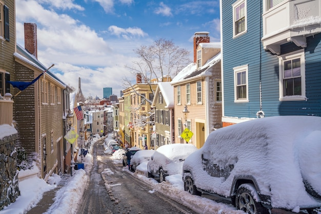 Houses in historic bunker hill area after snow storm in boston, massachusetts usa