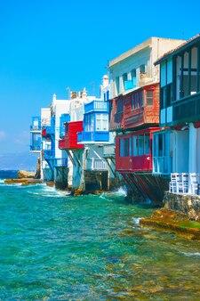Houses of little venice in mykonos island, cyclades, greece