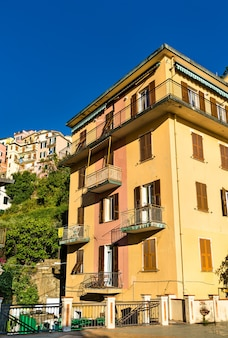 Houses in manarola at the cinque terre in italy